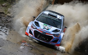 Картинка Вода, Отражение, Брызги, Hyundai, WRC, Rally, i20, Брод