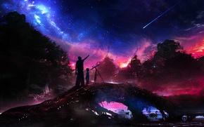 Картинка лес, небо, вода, космос, деревья, ночь, река, звезда, мальчик, мужчина, телескоп