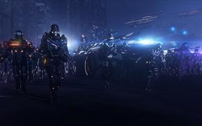 Картинка ночь, армия, earth, битва, mass effect, вездеход, alliance, M35 Mako, mako