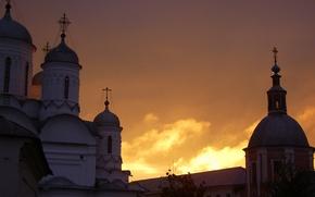 Картинка небо, цвета, Закат, храмы