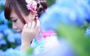 Картинка лето, девушка, лицо, фон, волосы, профиль