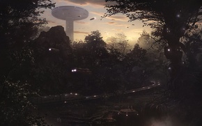 Картинка dusk, of the grand south, in the forest