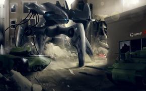 Картинка город, фантастика, робот