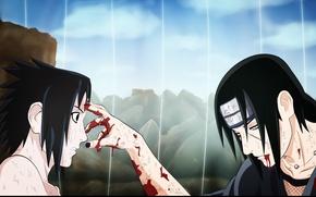 Картинка ужас, братья, Sasuke, Naruto, поединок, Uchiha Itachi, конец пути, Наруто Ураганные хроники, руки в крови