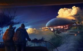 Обои облака, дирижабль, люди, Рисунок, 158
