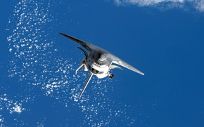 Картинка космос, облака, океан, земля, обои, полёт, шаттл, Space, космический челнок, Спейс, shuttle