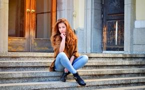 Картинка Girl, Red, Model, Sun, Beauty, View, Portrait, Bulgaria, Ligth, Hear, Ikoseomer