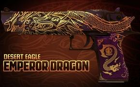 Картинка дракон, символ, золотой, desert eagle, раскрас, workshop, cs go, emperor dragon