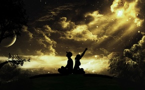 Картинка парень, деревья, луна, девушка, ночь, кепка, облака, небо, звезды, силуэты