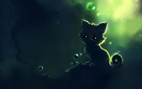 Картинка пузыри, котенок, рисунок, apofiss