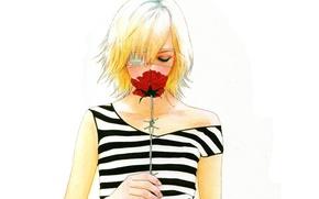 Картинка полоска, роза, блондинка, белый фон, колючая проволка, повязка на глаз, чёлка, Omae ga Sekai o …