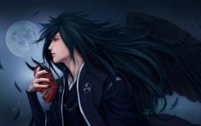 Картинка ночь, луна, крылья, перья, маска, Наруто, Naruto, art, Zetsuai89, uchiha madara, парен