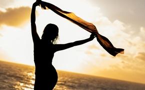 Картинка море, лето, девушка, силуэт, платок