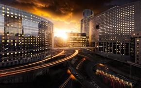Обои дороги, небо, солнце, вечер, город, дома, Париж, Франция, мосты, тучи