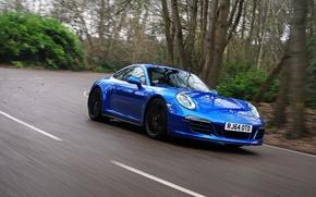 Картинка дорога, car, авто, скорость, 911, Porsche, поворот, road, Coupe, blue, Carrera 4 GTS