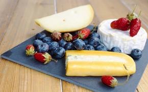 Картинка ягоды, сыр, клубника, натюрморт, голубика