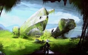 Картинка зелень, пейзаж, человек, корабль, скафандр, остов, арт, Prometheus, highdarktemplar