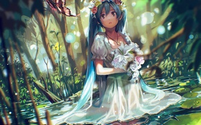 Картинка цветы, венок, hatsune miku, tsukun112, букет, арт, природа, аниме, вода, девушка, бабочка, слезы, vocaloid