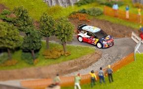 Картинка Поворот, Ситроен, Citroen, DS3, WRC, Rally, Ралли, S. Loeb, Макет, Diorama