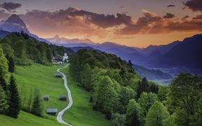 Картинка лес, закат, горы, природа, долина, церковь