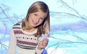Картинка зима, снег, дети, улыбка, настроения, блондинка, девочка, снежинка