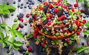 Обои листики мяты, mint leaves, Вкусный десерт, Delicious dessert, ягодный тортик, fruit cake