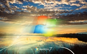 Обои логотип, озеро, Windows 7, облака, seven