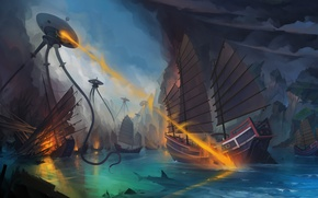 Картинка море, фантазия, фантастика, корабль, роботы, арт, пришельцы