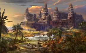 Картинка город, пальмы, замок, арт