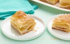Картинка еда, пирог, тарелки, крем, сладкое