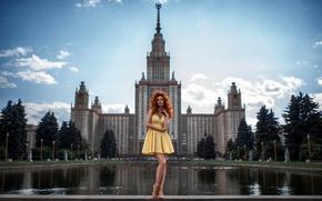 Картинка девушка, город, платье, Москва, ножки, МГУ, Георгий Чернядьев, Надежда Неясова