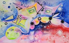 Картинка цветы, рисунок, квадраты, акварель, фигуры