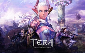 Картинка оружие, башня, доспехи, эльфы, корсет, эльфийка, голубые глаза, белые волосы, персонажи, Tera, остроухая