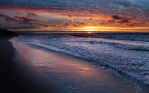 Обои берег, пляж, песок, море, волны, вода, облака, солнце, небо, пейзаж, закат