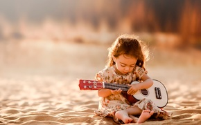 Картинка песок, гитара, девочка, Tunes From My Soul