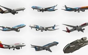 Картинка разные, самолёты, звездолет, типы
