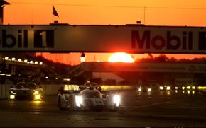 Картинка солнце, закат, ауди, audi, спорт, трасса, гонки, LMS, трэк, motorsport, dodge viper, mobil, Audi R18 ...