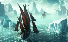 Картинка рисунок, корабль, айсберг, 152, Kerem Beyit, льды