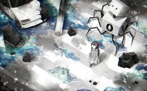 Картинка машина, цветок, вода, девушка, робот, аниме, арт, переход, samael