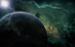 Картинка космос, туманность, звезда, планета, спутник, арт, рендер
