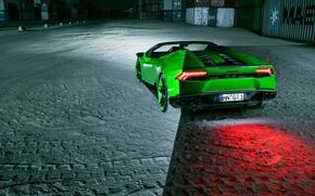 Обои выхлопы, Lamborghini, вид сзади, supercar, Spyder, Novitec, стоп-сигнал, Torado, green, авто, Huracan