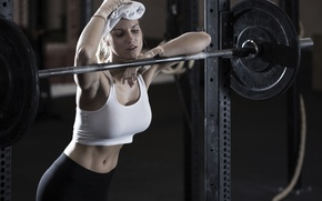 Обои workout, fitness, woman, burning calories, weight bar, gym, fatigue, perspiration