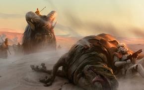 Обои Татуин, животные, имперец, арт, Star Wars, пустыня, песчаные люди
