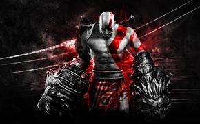 Картинка sword, demigod, armor, weapon, Kratos, God of War, general, Spartan, Hercules, hero, killer, swords, God ...