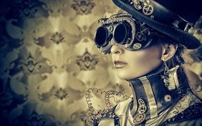 Картинка девушка, стиль, провода, шляпа, очки, стимпанк