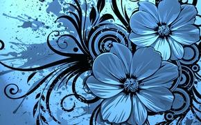 Обои брызги, узор, цветы, пятна
