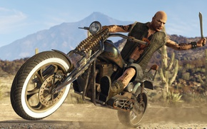 Картинка skull, game, desert, motorcycle, mountains, sand, GTA, tattoo, vegetation, mustache, cactus, dangerous, goat, GTA Online, …