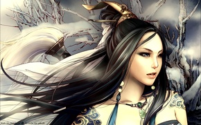 Картинка девушка, волосы, тату, азиатка
