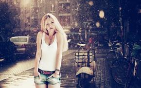 Картинка дождь, Девушка, мопед