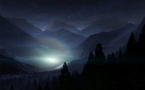 Картинка лес, небо, звезды, свет, деревья, пейзаж, горы, ночь, природа, туман, озеро, тень, радуга, силуэт